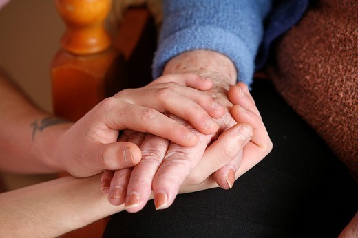 GENERATIONS. GENERATIONS Support in a retirement home. : Stock Photo