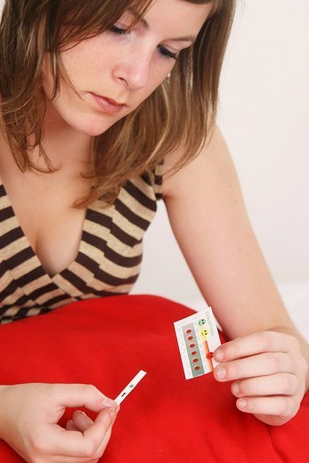 CHOLESTEROL TEST FOR TEENAGER. Model. : Stock Photo
