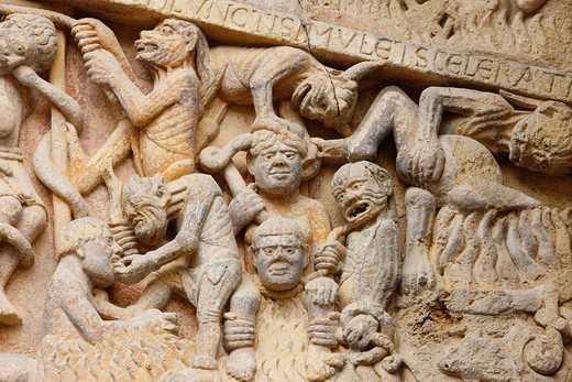 Stock Photo: 824-108434 OUTSIDE VIEW OF A CHURCH. Sainte Foy abbey, tympanum : Hell. Conques, France.