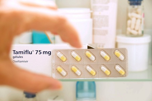 Stock Photo: 824-112066 TREATMENT FOR INFLUENZA. Tamiflu active principle : Oseltamivir , pharmacological class : Antiviral, neuraminidase inhibitor , indication : prevention and treatment of influenza and Influenza A.