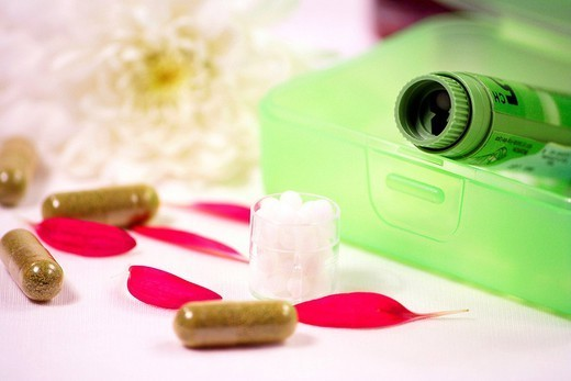 Stock Photo: 824-112109 ALTERNATIVE MEDICINE. ALTERNATIVE MEDICINE Homeopathy and capsules of eucalyptus.