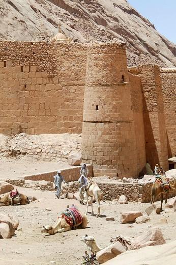 MONASTERY. MONASTERY Tower of Saint Catherine Monastery, Mount Sinai, Egypt. : Stock Photo