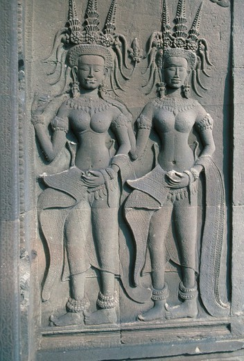 ANGKOR, CAMBODIA. ANGKOR, CAMBODIA Apsara, celestial female dancers, bas reliefs from the Angkor Wat temple, Cambodia (UNESCO world heritage site). : Stock Photo