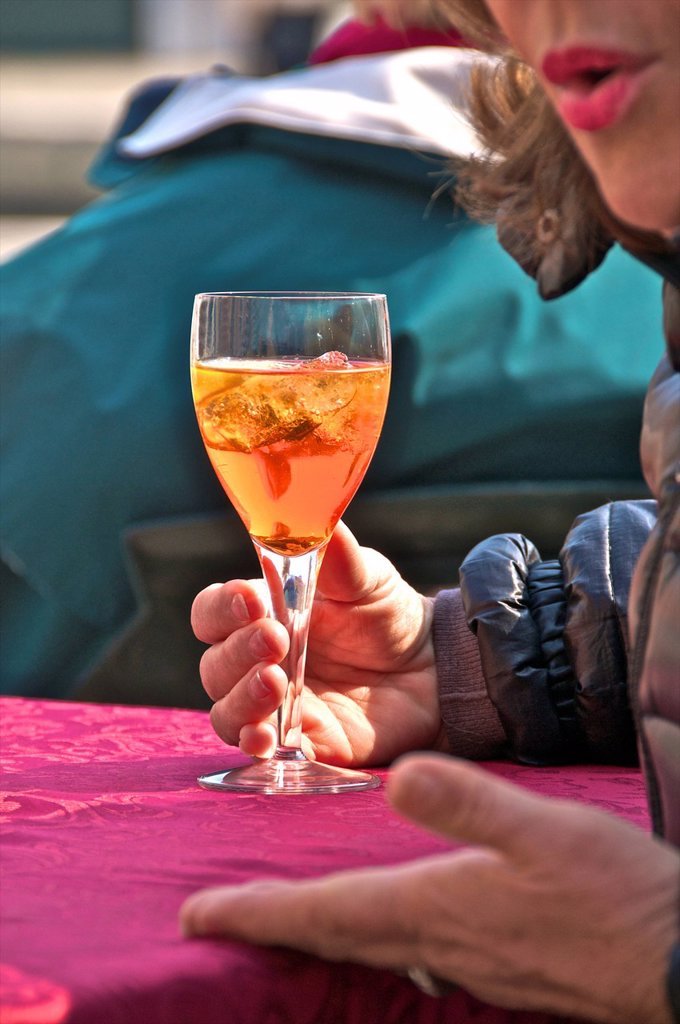 Stock Photo: 824-12408 APERITIVE. Spritz, venetian local typical drink.