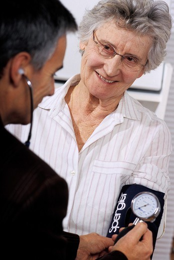 BLOOD PRESSURE, ELDERLY PERSON. BLOOD PRESSURE, ELDERLY PERSON Models. : Stock Photo