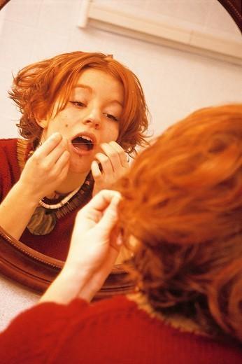 DENTAL HYGIENE, ADOLESCENT. DENTAL HYGIENE, ADOLESCENT Model. : Stock Photo