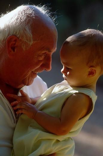 ELDERLY PERSON & INFANT. ELDERLY PERSON & INFANT Models. : Stock Photo