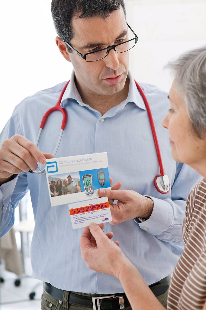CONSULTING FOR DIABETES ELDERLY. : Stock Photo