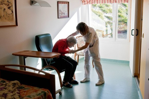 HOME FOR THE AGED. Photo essay from hospital. : Stock Photo