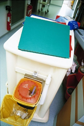 HOSPITAL HYGIENE. HOSPITAL HYGIENE Photo essay. Chatellerault Hospital (Camille Guérin) in the French department of Vienne. Waste separation. : Stock Photo