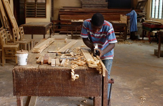 CARPENTER. Carpentry workshop Togo, Africa : Stock Photo