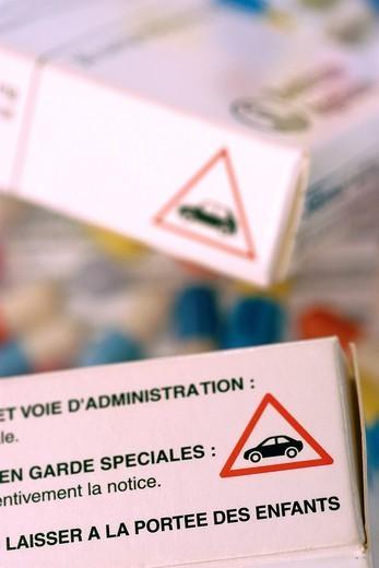 MEDICATION SIDE EFFECT. Warning. : Stock Photo