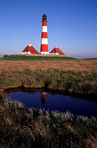 Stock Photo: 824-25969 BOAT BEACON. BOAT BEACON Worldwide distribution except for United Kingdom and Germany. Westerhever lighthouse, Schleswig-Holstein, Germany.