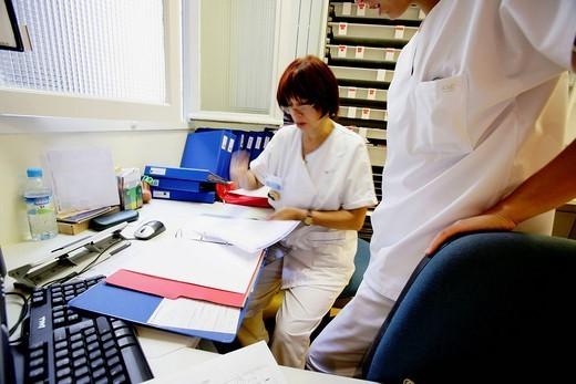NURSE. Photo essay from hospital. Orthopedic clinic. : Stock Photo