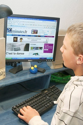 Stock Photo: 824-29302 CHILD, COMPUTER. Illustration on ´the youngs and the information´.
