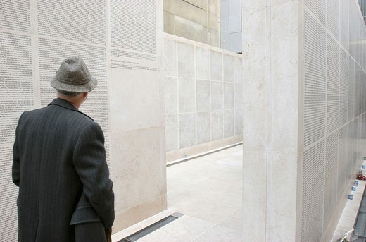 Stock Photo: 824-29596 MEMORY. MEMORY Wall of names at the Shoah memorial, Paris, France.