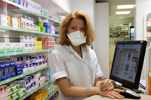 PREVENTION, MASK. Photo essay in a chemist´s shop. Prevention of influenza A H1N1. : Stock Photo