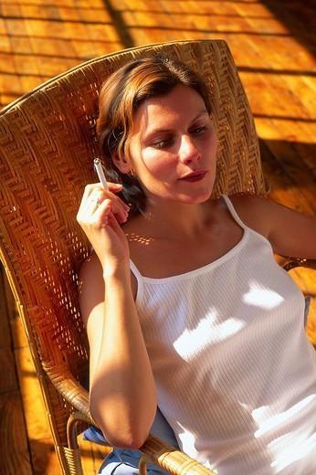 WOMAN SMOKING. WOMAN SMOKING Model. : Stock Photo