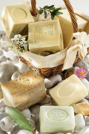 SOAP. SOAP Alep soap on the top left and other soaps with olive oil, laurel, palm oil, fig and lilly of the valley. : Stock Photo