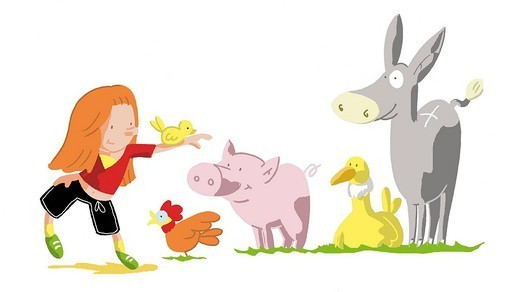 CHILD WITH ANIMAL : Stock Photo