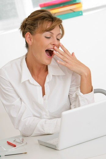 YAWNING WOMAN. YAWNING WOMAN Model. : Stock Photo