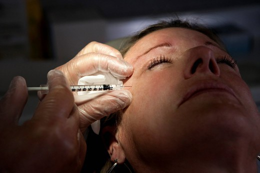 BOTOX TREATMENT, WOMAN. Photo essay. : Stock Photo