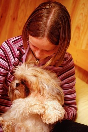 ADOLESCENT WITH ANIMAL. ADOLESCENT WITH ANIMAL Model. : Stock Photo