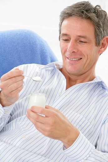 MAN, DAIRY PRODUCT. MAN, DAIRY PRODUCT Model. : Stock Photo