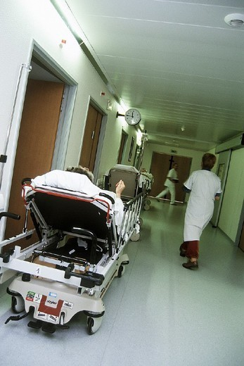 EMERGENCY CASE, HOSPITAL. EMERGENCY CASE, HOSPITAL Chatellerault Hospital (Camille Guérin Hospital) in the French department of Vienne. : Stock Photo