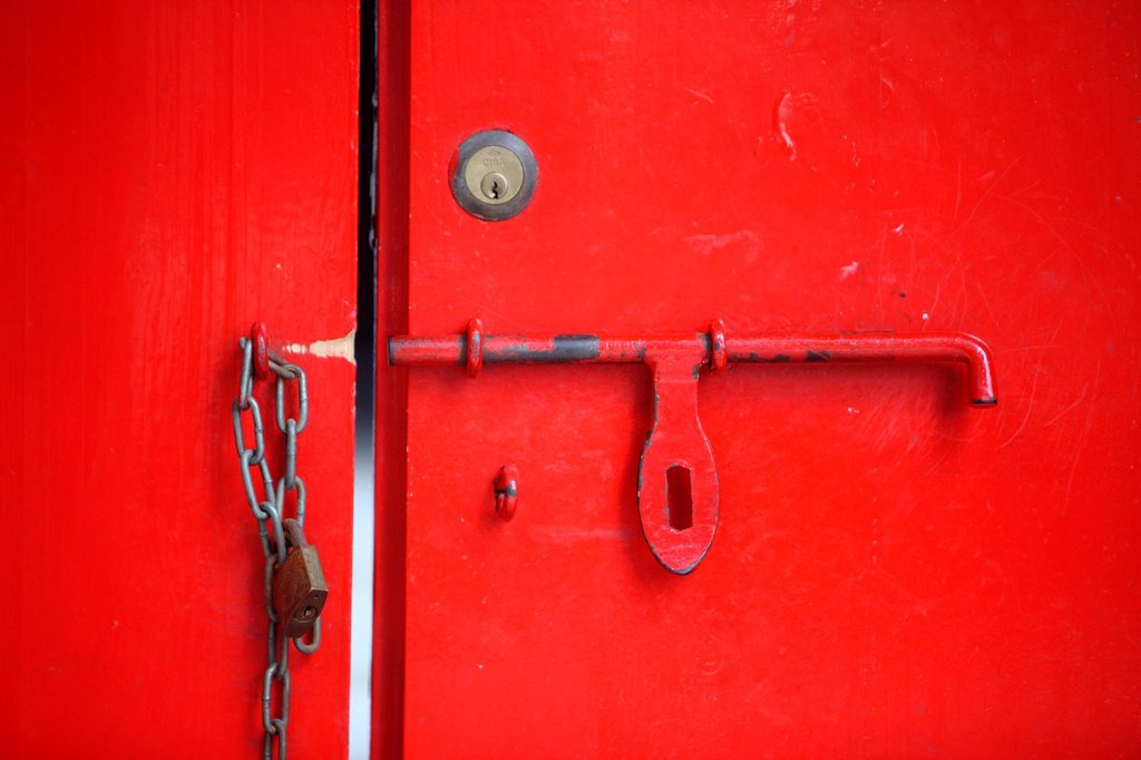 CHINA, TEMPLE. Tin Hau Temple. Door. : Stock Photo