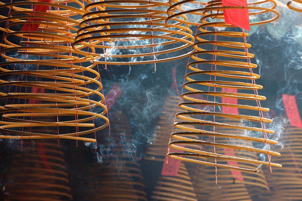 INCENSE. Kun Iam Temple. Incense coils. : Stock Photo