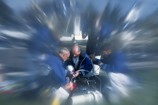 Stock Photo: 824-39315 EMERGENCY. EMERGENCY Photo essay. Helicopter rescue. Doctor and emergency medical technicians.