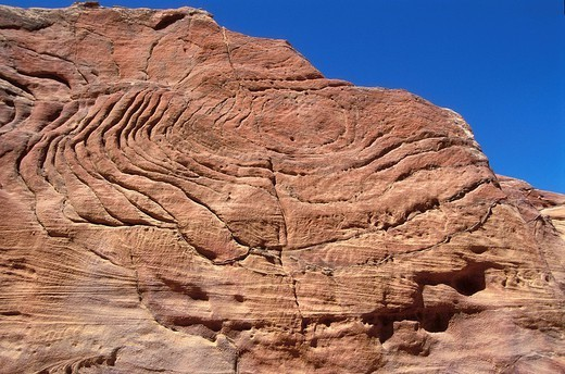 SANDSTONE EROSION. Eroded sandstone in the Wadi Rum desert, in Jordan. : Stock Photo