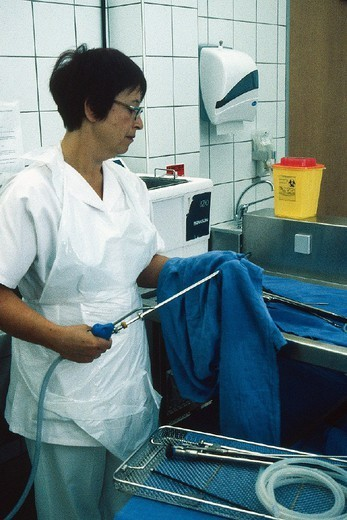 Stock Photo: 824-46139 HOSPITAL HYGIENE, INSTRUMENT. HOSPITAL HYGIENE, INSTRUMENT Photo essay from hospital. Chatellerault Hospital (Camille Guérin Hospital) in the French department of Vienne.