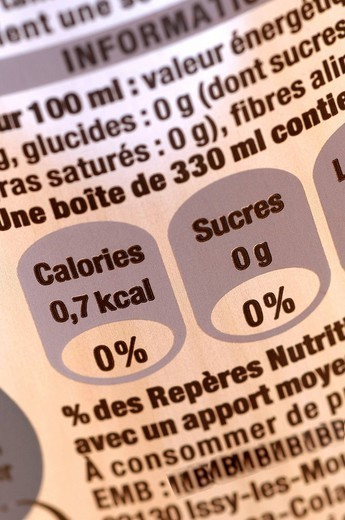 FOOD LABELLING. Label of soda ´light´. : Stock Photo