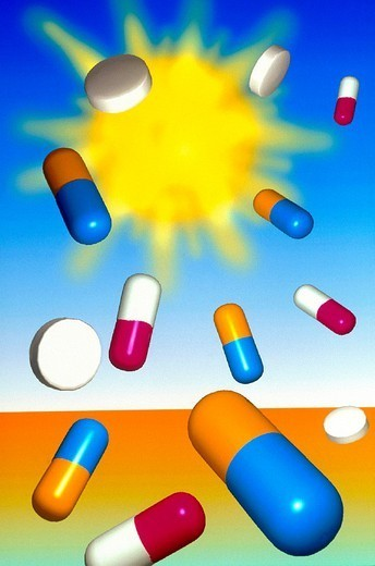 RISK FACTOR. RISK FACTOR Medication and sun exposure. : Stock Photo
