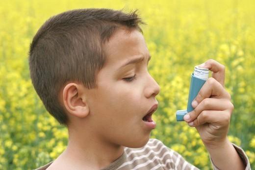 ASTHMA TREATMENT, CHILD. ASTHMA TREATMENT CHILD Model. : Stock Photo