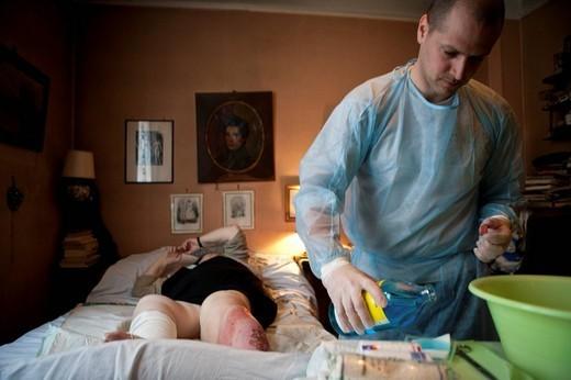 LEG ULCERS CARE. Photo essay from hospital. : Stock Photo