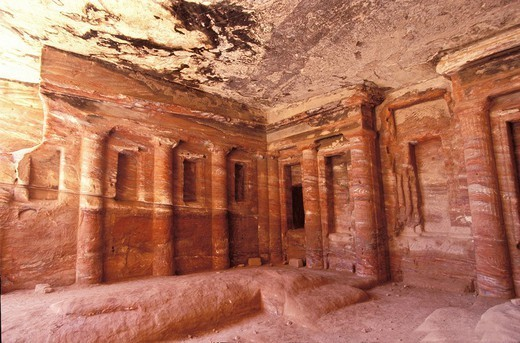 Stock Photo: 824-53170 PETRA, JORDAN. Nabatean site of the little Petra, in Jordan : the triclinium, place where the parents of the deceased would take their funeral meals.