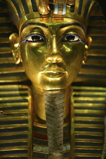 EGYPT. EGYPT King Tutankhamen´s funeral mask at the Egyptian Museum in Cairo. : Stock Photo