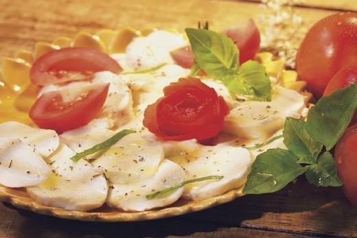 Stock Photo: 824-55262 SALAD. SALAD Tomato and mozzarella salad.