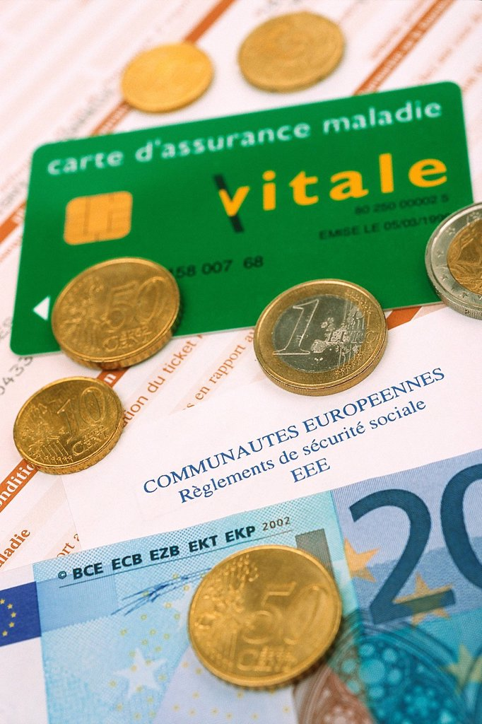 NAT´L HEALTH SERVICE CARD. France´s national, electronic, medical insurance card. : Stock Photo