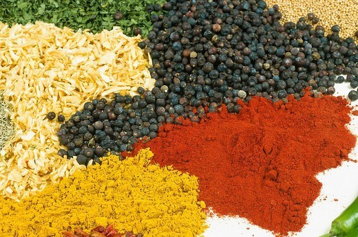 Stock Photo: 824-59747 SPICE. SPICE Juniper berry, saffron, paprika, mustard seeds, rosemary, parsley, and onion.