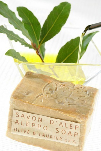 Stock Photo: 824-62078 SOAP. SOAP Alep soap, olive oil and laurel.