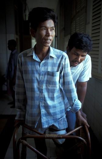 MEDICINE CAMBODIA. MEDICINE CAMBODIA Photo essay from hospital. Victim of an antipersonnel land mine, Cambodia. : Stock Photo