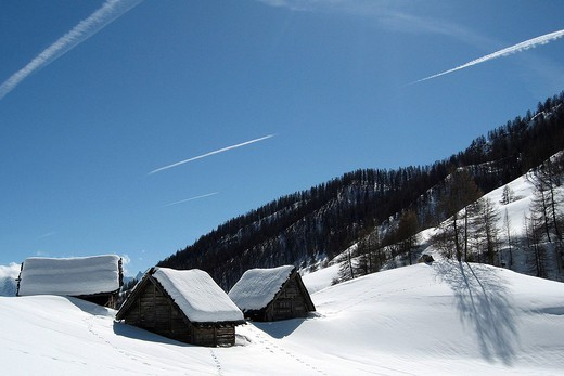 Stock Photo: 824-63282 ALPS, FRANCE. ALPS, FRANCE Chalets in Queyras, Southern Alps France, Europe.