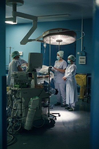 SURGERY. SURGERY Photo essay for press only. Operating room. : Stock Photo
