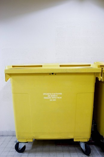 MEDICAL WASTE. Photo essay at the hospital of Meaux 77, France. : Stock Photo