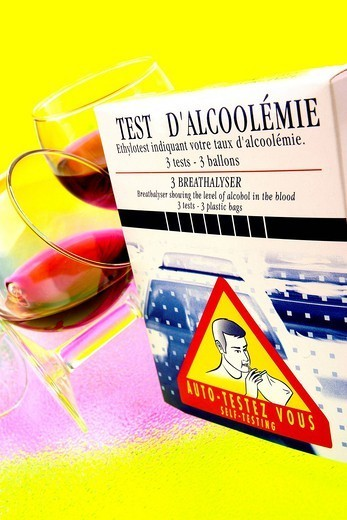 ALCOHOL TEST. Testing blood alcohol level BAL. : Stock Photo