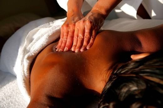 Stock Photo: 824-81232 WOMAN BEING MASSAGED. WOMAN BEING MASSAGED Worldwide distribution except for South Africa